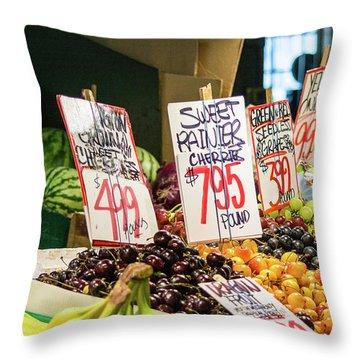 Sweet Rainier Cherries Throw Pillow