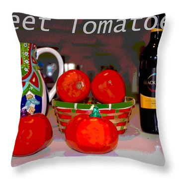 Throw Pillow featuring the mixed media Sweet Tomatoes by Charles Shoup
