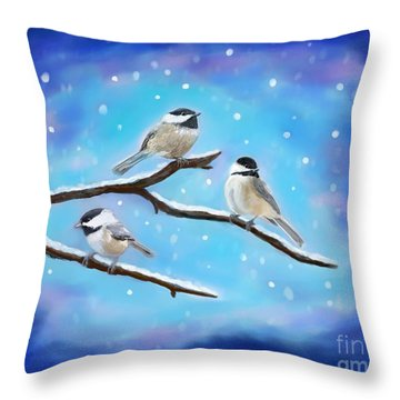 Throw Pillow featuring the painting Sweetest Winter Birdies by Leslie Allen