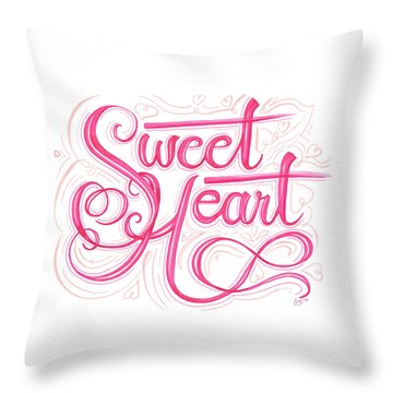 Throw Pillow featuring the drawing Sweetheart by Cindy Garber Iverson