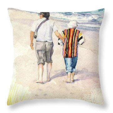 Sweethearts At The Beach Throw Pillow