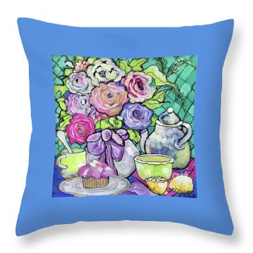 Throw Pillow featuring the painting Sweetness And Tea by Rosemary Aubut