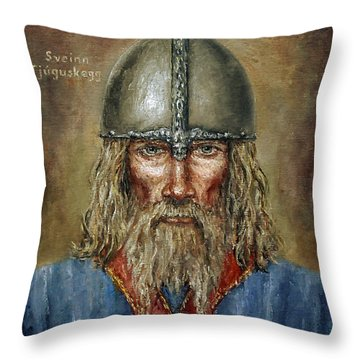 Sweyn Forkbeard Throw Pillow by Arturas Slapsys