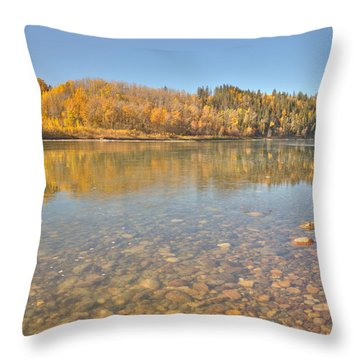 Throw Pillow featuring the photograph Swift Flowing Water - The North Saskatchewan River by Jim Sauchyn