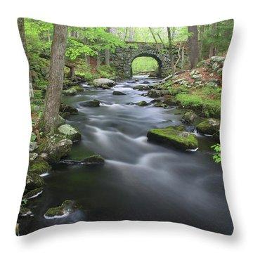 Swift River And Keystone Bridge Quabbin Reservoir Throw Pillow by John Burk
