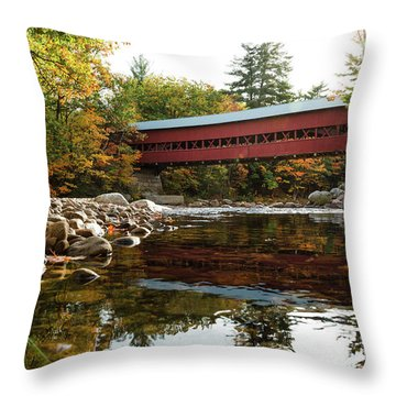 Swift River Covered Bridge Throw Pillow