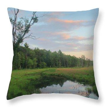 Swift River Sunset Throw Pillow by John Burk