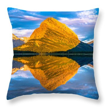 Throw Pillow featuring the photograph Swiftcurrent Lake Sunrise Panorama by Dustin  LeFevre