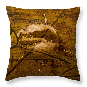 Swim With Sharks Throw Pillow