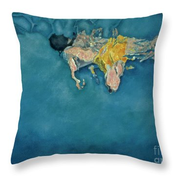 Swimmer In Yellow Throw Pillow by Gareth Lloyd Ball