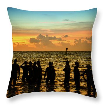 Swimmers Sunrise Throw Pillow