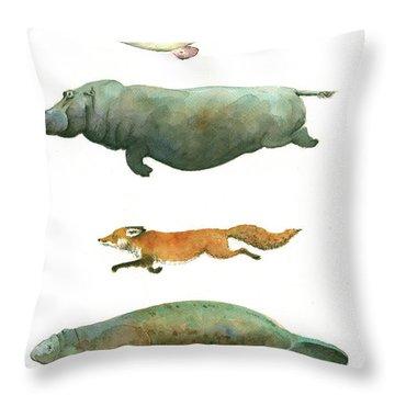 Swimming Animals Throw Pillow