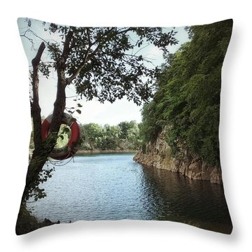 Throw Pillow featuring the photograph Swimming At The Quarry by Karen Stahlros