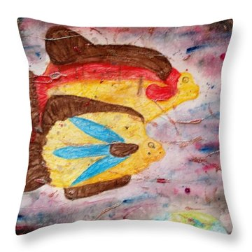 Throw Pillow featuring the painting Swimming By by Thomasina Durkay