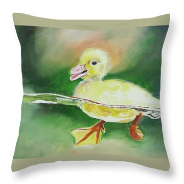 Swimming Duckling Throw Pillow