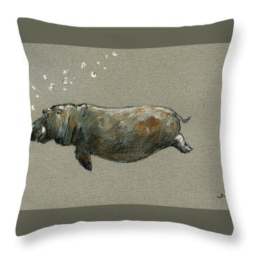 Swimming Hippo Throw Pillow by Juan  Bosco