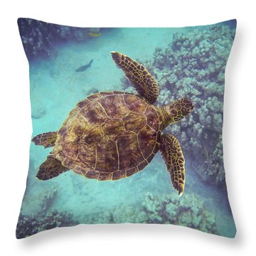 Swimming Honu From Above Throw Pillow