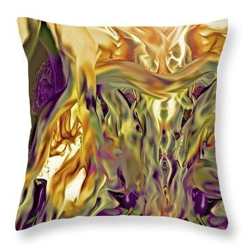 Throw Pillow featuring the digital art Swimming Horses by Linda Sannuti