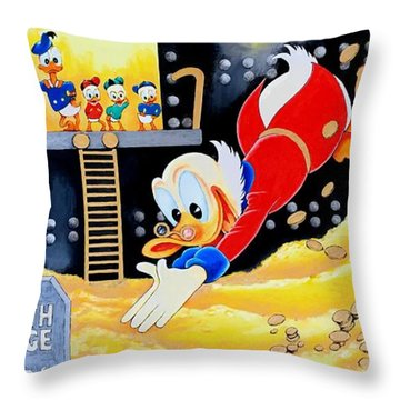 Swimming In Gold Throw Pillow