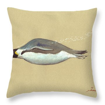 Swimming Penguin Painting Throw Pillow