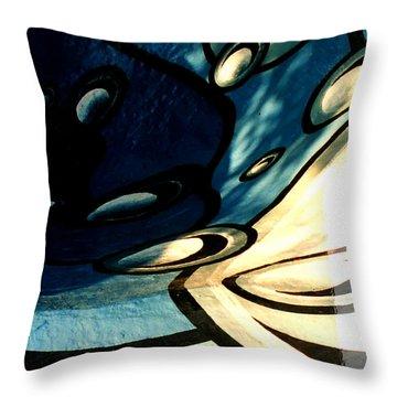 Swimming Pool Mural Detail 2 Throw Pillow by Rachel Christine Nowicki