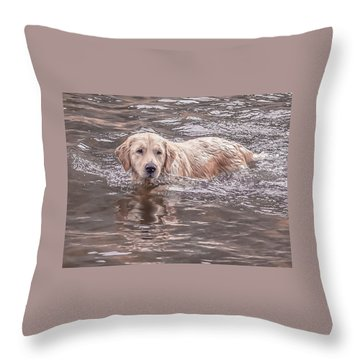 Swimming Puppy Throw Pillow