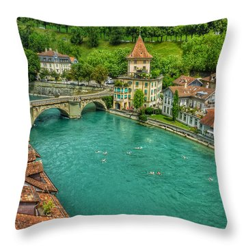 Throw Pillow featuring the photograph Swimming The River Aare , Bern  by Connie Handscomb