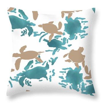 Swimming Turtles Throw Pillow