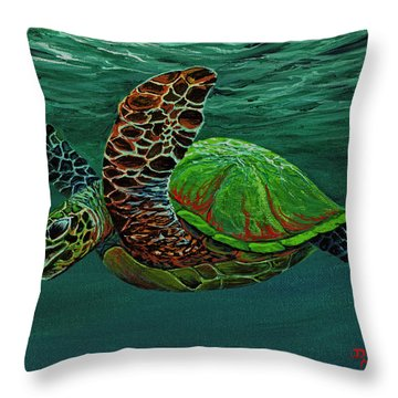 Throw Pillow featuring the painting Swimming With Aloha by Darice Machel McGuire