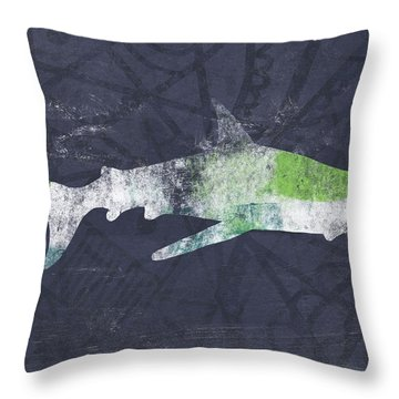 Swimming With Sharks 3- Art By Linda Woods Throw Pillow