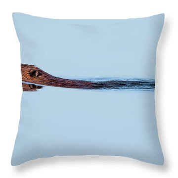 Swimming With The Beaver Throw Pillow by Bill Wakeley