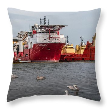 Swimming With The Big Boys Throw Pillow by Carolyn Dalessandro