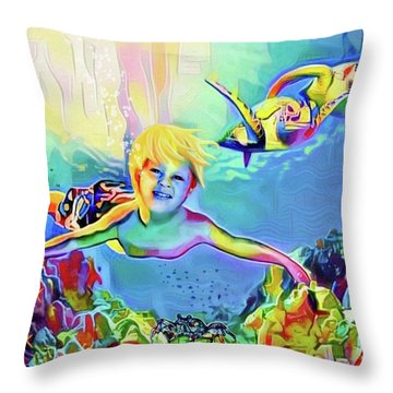 Swimming With Turtles Throw Pillow by Jann Paxton