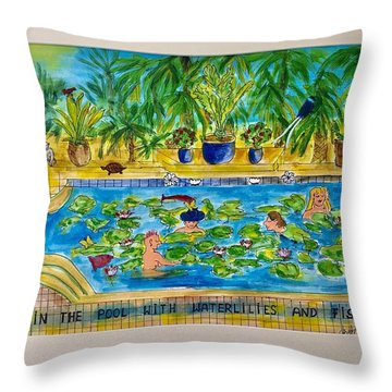 Swimming With Waterlilies And Fish Throw Pillow