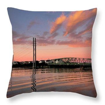 Swing Bridge At Sunset, Topsail Island, North Carolina Throw Pillow by John Pagliuca