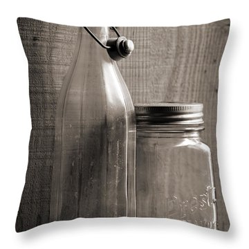 Jar And Bottle  Throw Pillow by Sandra Church