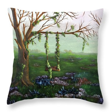 Swingin' With The Flowers Throw Pillow