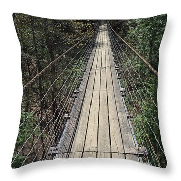 Swinging Bridge Falls Creek Falls State Park Throw Pillow