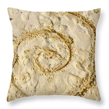 Throw Pillow featuring the photograph Swirl Drawn In The Sand by Francesca Mackenney