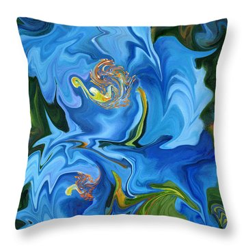 Swirled Blue Poppies Throw Pillow by Renate Nadi Wesley