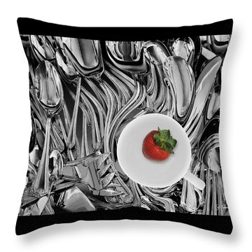 Swirled Flatware And Strawberry Throw Pillow