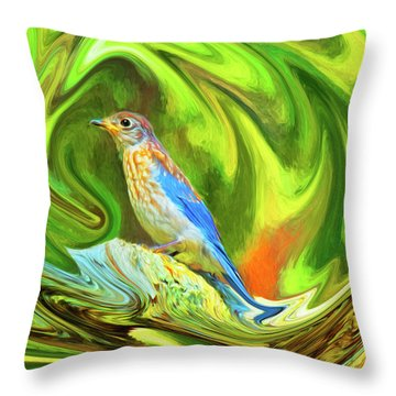 Swirling Bluebird  Throw Pillow