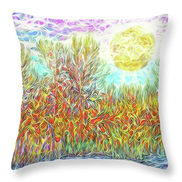 Throw Pillow featuring the digital art Swirling Brilliant Trees - Boulder County Colorado by Joel Bruce Wallach