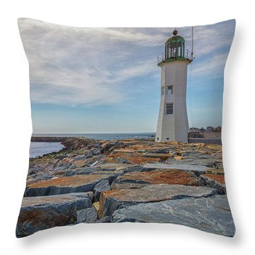 Swirling Clouds At Scituate Lighthouse Throw Pillow