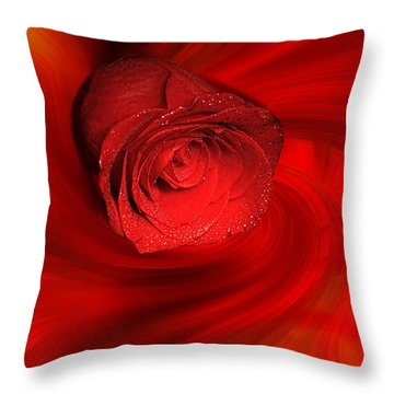 Swirling Rose Throw Pillow