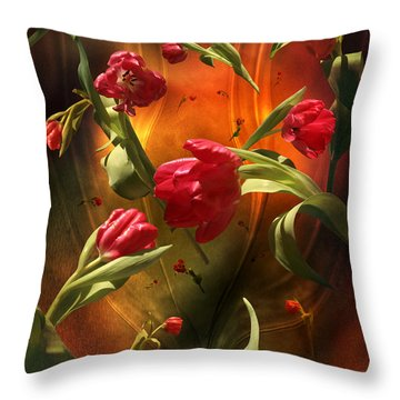 Swirling Tulips Throw Pillow by Johnny Hildingsson