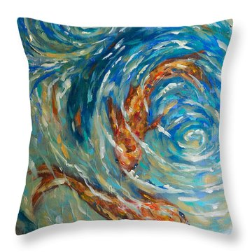 Swirling Waters Throw Pillow by Linda Olsen