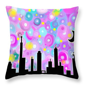 Throw Pillow featuring the painting Swirly Metropolis by Shawna Rowe