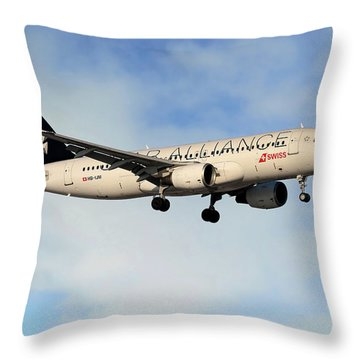 Swiss Airbus A320-214 Throw Pillow