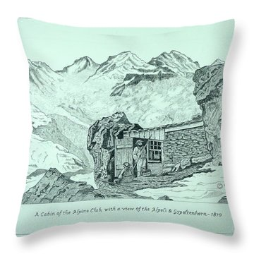 Swiss Alpine Cabin Throw Pillow